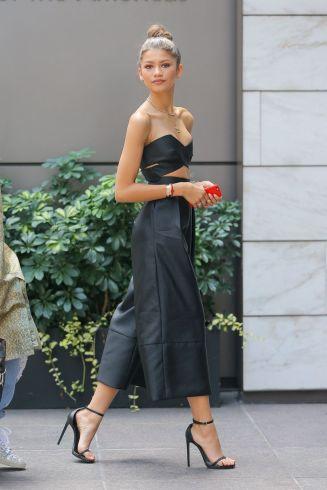 leather black culotte