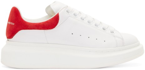 alexander mcqueen white and red leather