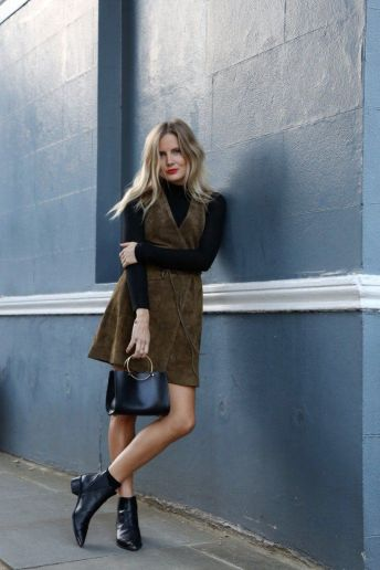 suede dress with a turtleneck
