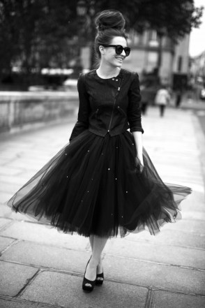 tulle and leather jacket