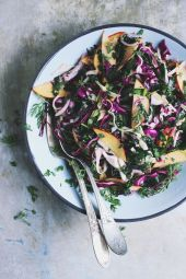 chopped kale salad with nectarines