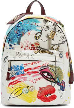 marc jacobs ecru canvas collage backpack