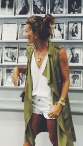 olive green long vest trech coat