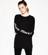 zara t shirt with sleeve text