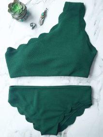 scalloped one shoulder bikini