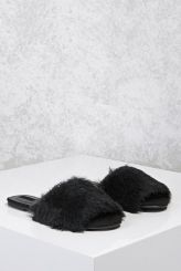 forever 21 faux fur slide sandals
