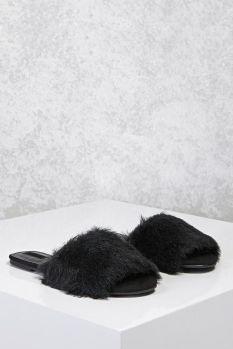 forever 21 faux fur slide sandals