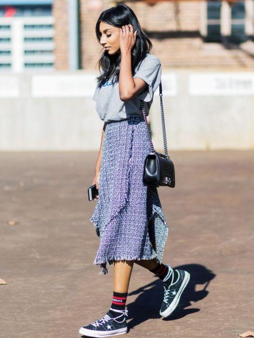 midi skirt and sneakers