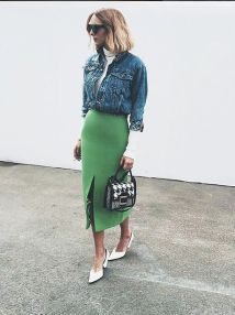 pencil skirt and cropped denim jacket