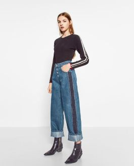 mom fit side stripes jeans