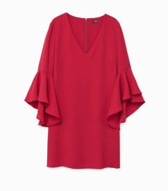 mango ruffle sleeve dress