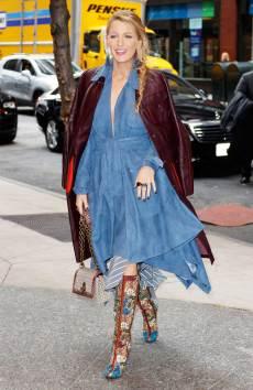 blake-lively-style-jonathan-simkhai-blue-suede-dress-bottega-veneta-bag-christian-louboutin-boots-lorraine-schwartz-earrings