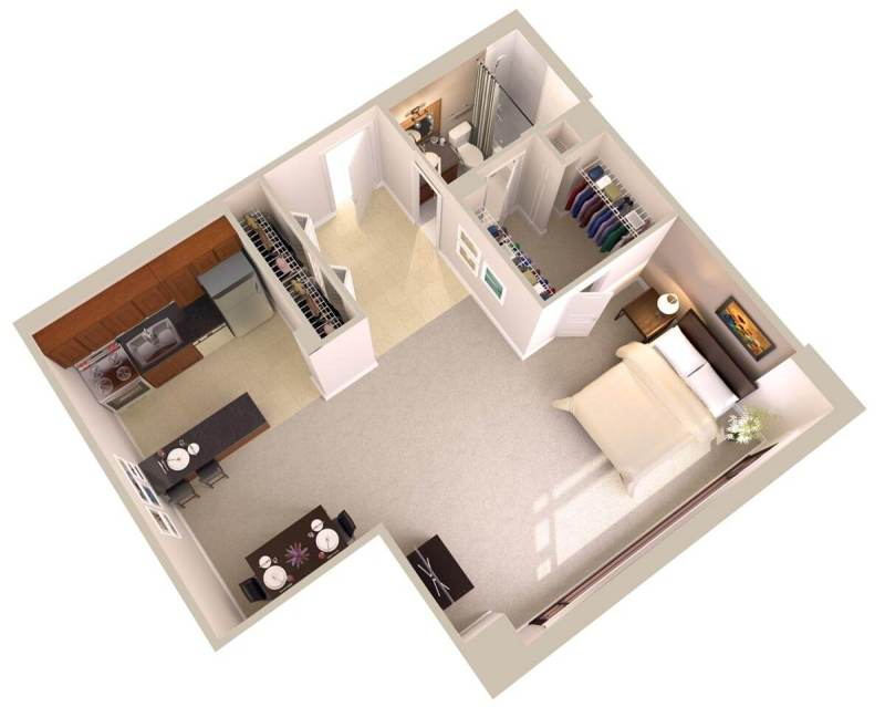 Large Of Efficiency Apartment Floor Plan