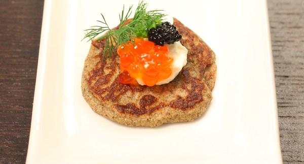 blini with salmon caviar