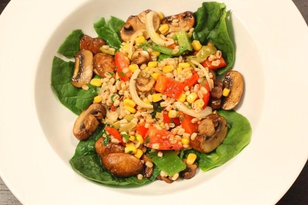 barley and mushroom salad