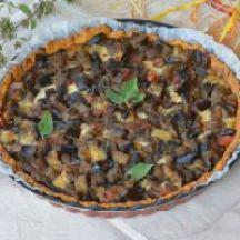 Tarte à l'aubergine, tomate, chèvre et origan de Paruline