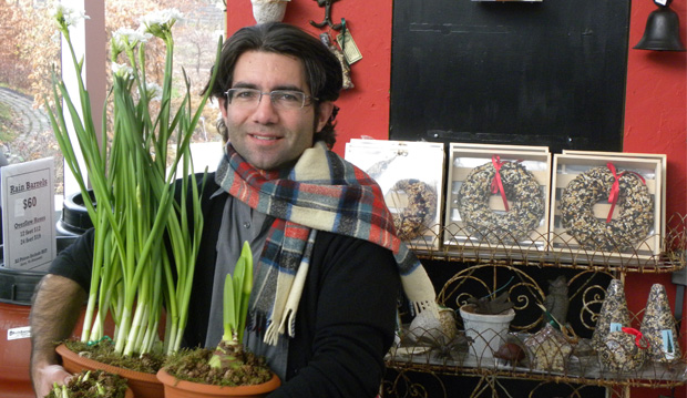 Paul Zammit and potted bulbs