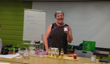 Danette Steele with herbal cordials