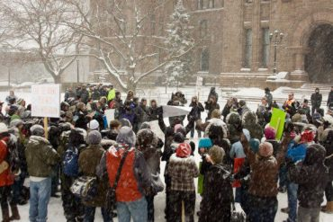 York students let out their battle cry at Queen's Park.