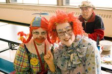 Clowns June Bug and Tripper from the Scarborough Corps of Clowns keep the kids entertained.
