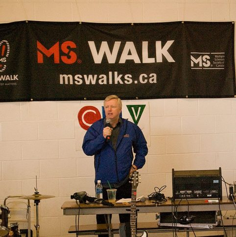 CTV anchor Bill Hutchinson says a few words to kick off the walk.