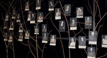 A collection of photos of the cast of Children of Eden