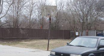 A broken basketball net at 205 Morningside Ave.