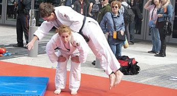 Students of judo wow spectators at the Pan Am Games logo launch party outside the Air Canada Centre on Sept. 29.