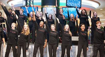The Wexford Heights Gleeks serenade the audience at the Scarborough Town Centre event. They sang popular hits like Journey's 'Don't Stop Believin'.
