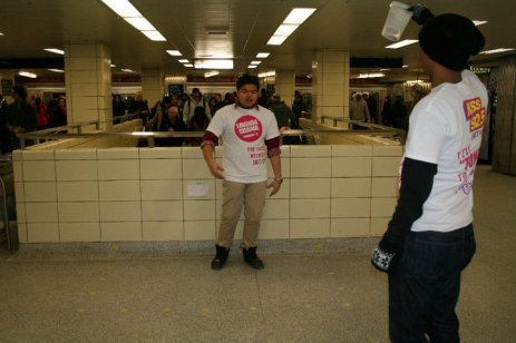 Students from Etobicoke School of the Arts perform a dramatic piece at Yonge and Bloor subway station on Feb. 11 during the Tokens4Change event.