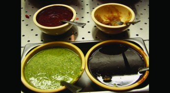 Different dips at the buffet table at Indian Spice Kitchen.