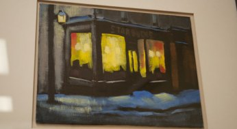 """""""Starbucks, King and Jarvis"""" is an acrylic painting of a Starbucks across from the George Brown College campus Hirtescu attended."""