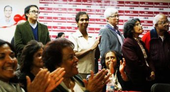 A enthusiastic crowd cheers at Scarborough-Rouge River MPP Bas Balkissoon's campaign headquarters as the Liberals gain the lead in the provincial election.