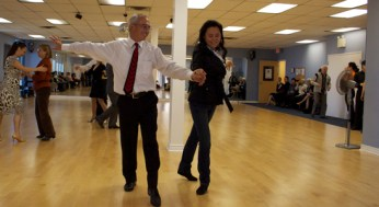 Full-time banker Toufic Makhoul is an enthusiastic dancer on his spare time. Here, he dances with another dance fanatic at Shall We Dance studios.