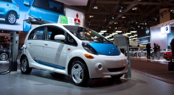The all-electric Mitsubishi i-MiEV, equipped with a lithium-ion battery, can be charged fully in 22 hours with a standard 120-volt power outlet.
