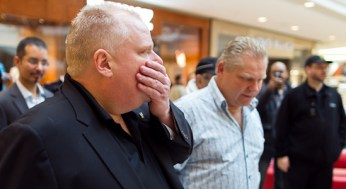 Mayor Rob Ford and his brother, Councillor Doug Ford, walked the Scarborough Town Centre for an hour Saturday in support of their Cut The Waist challenge.
