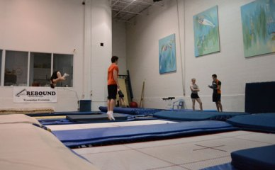 Dave Ross invented the SuperTramp trampoline at Skyriders. The trampoline is about double the size of average trampolines and allows athletes to jump about 30 per cent higher, he says.