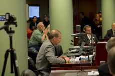 Bob Kinnear, president of the Amalgamated Transit Union, Local 113, speaks at the commission meeting on Thursday.