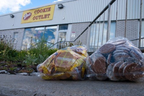 These bags of oatmeal cookies retail for $2 at the Dad's cookie factory in Scarborough.