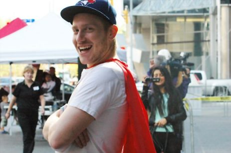Matt Silverstein, 22, in his red cape raised money through friends and co-workers.
