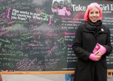 Dena Allen, Plan Asia Regional Communications Manager encouraged visitors to share their message for girls on this chalk board.
