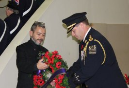 Toronto EMS places wreath to honour veterans and fallen soldiers.
