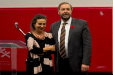 Mulcair was accompanied by his wife Catherine Pinhas.