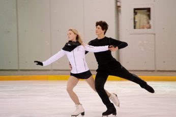Piper Gilles, left, and Paul Poirier, right, training at Scarborough's Ice Galaxy.