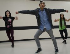 Patrick Pil (centre) cleans his choreography with Faye Hue (left) and Megan MacDonald.