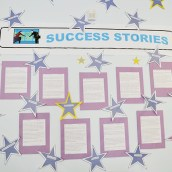 The success stories wall inside the Gateway Cafe shows the many people who have benefitted from the employment program.