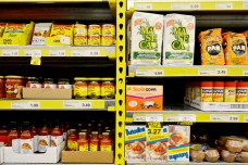 Ethnic products share the same aisle and shelf space in an ethnic product line strategy adopted by No Frills.