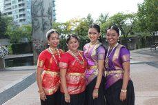 Master Vasu Sinnarasa's Bharathanatya dancers — from left, Keerthana Arulanandarajah, Yahlikah Mahesuwaran, Cynthia Sriangan and Nivatha Moothathamby — appeared at this year's Toronto Mela Summer Festival.