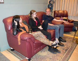 Jen Fabico (left), Amanda Rabey and Mike Smith chatting in the Phase One Studio.