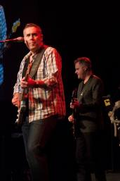 Barenaked Ladies vocalist and guitar player Ed Robertson leads Kevin Hearn (keyboard/guitar/vocals), background, and the rest of the band during the first song of the Nov. 7 performance at the fifth annual True Patriot Love Tribute Dinner.